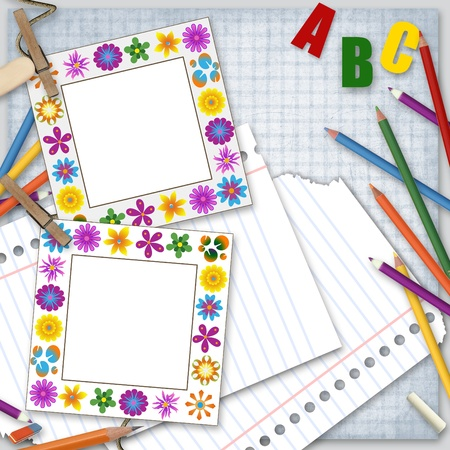 two frames, paper and pencils, back to school background  photo