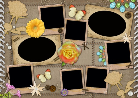 photo album: Template for a collage photo. Photoframeworks in a retro style.  Stock Photo