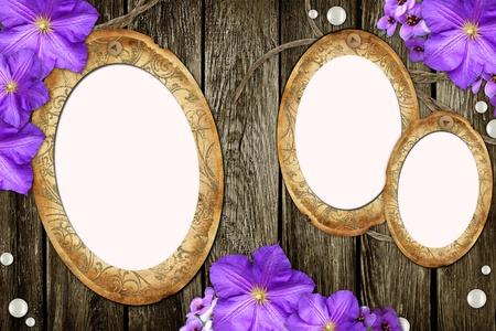 mother of pearl: vintage paper frames over grunge wood background