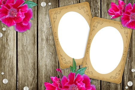 vintage two paper frames over grunge wood background  photo