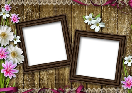 two wooden photo frames over grunge wood background  photo