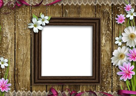 wooden photo frame over grunge wood background  photo