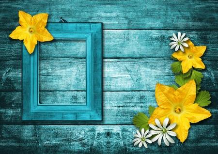 wooden photo frame over grunge wood background Stock Photo - 10401896