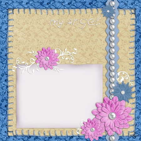 scrapbook layout in blue and beige colors with paper, pearls and flowers  photo