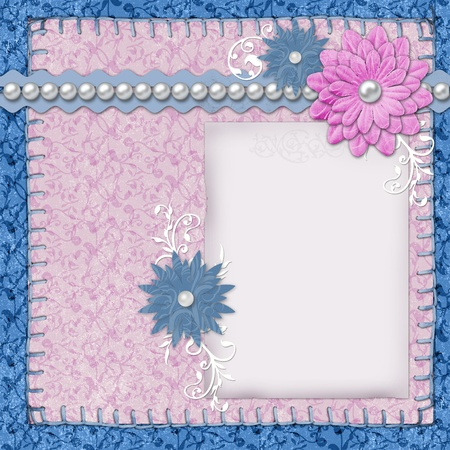 scrapbook layout in blue and pink colors with paper, pearls and flowers  photo