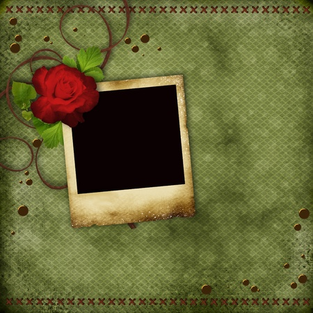 Vintage card with red rose and old frame for  photo photo