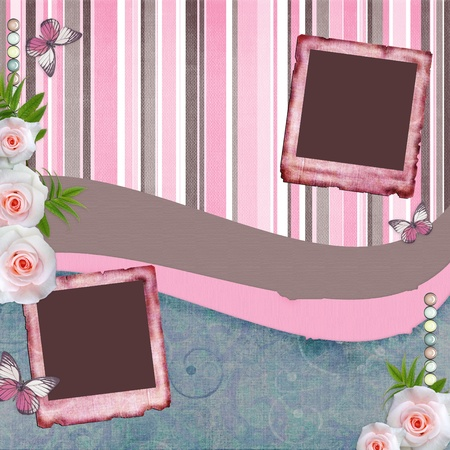 Beautyful album page in scrapbook style  with  paper frames for photo, butterfly, rose (1 of set) photo