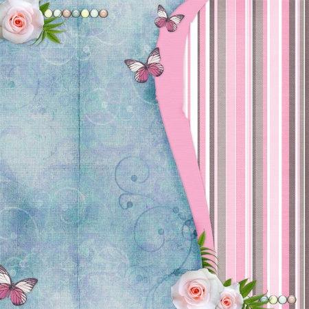 Card for congratulation or invitation with pink roses, butterfly, old paper  photo