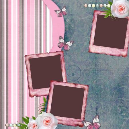 scrapbook cover: P�gina del �lbum beautyful estilo scrapbook con marcos de papel para la foto, mariposa, Rosa (1 de conjunto)