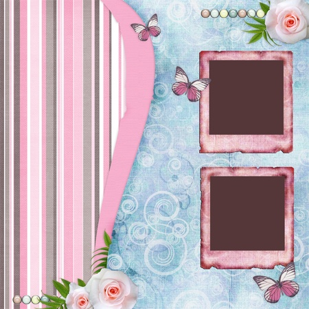 flower photos: Beautyful album page in scrapbook style  with  paper frames for photo, butterfly, rose (1 of set)