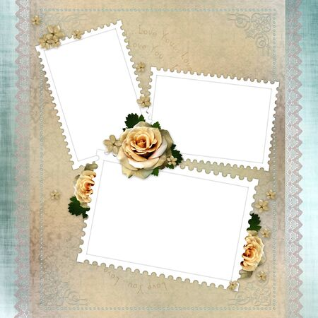 Vintage background with stamp frames, beige roses and lace photo