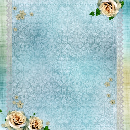 wedding background with lace and beige roses photo