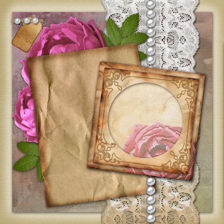 Vintage paper frame  on vintage background  photo