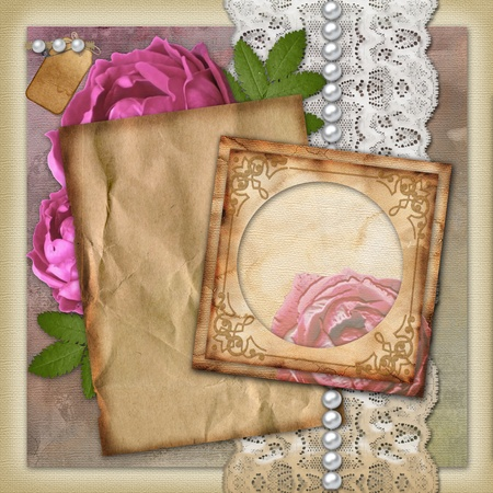 Vintage paper frame  on vintage background Stock Photo - 10443307