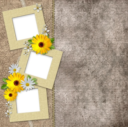 photo album page: Three frames and flowers on vintage background