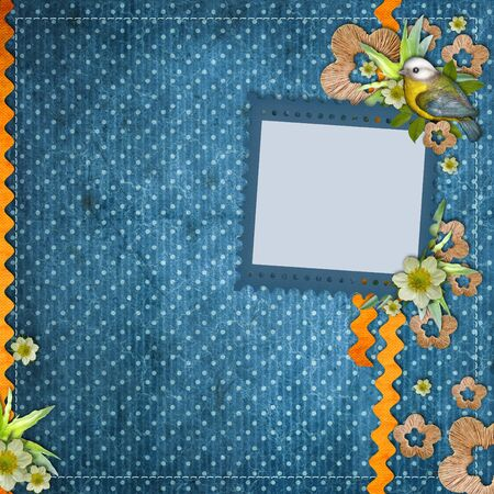 album background: Beautiful layout with photo frames, bird, decorative flowers, wav� stripes