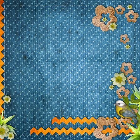 Beautiful layout with  bird, decorative flowers, wavy stripes  photo