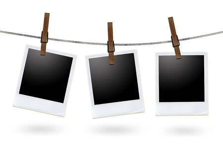 clothes line: blank photo frames on a clothesline