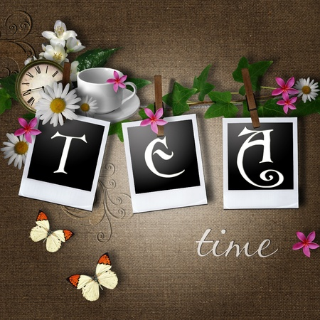 teacup: Aged photo frames with text tea on textile background