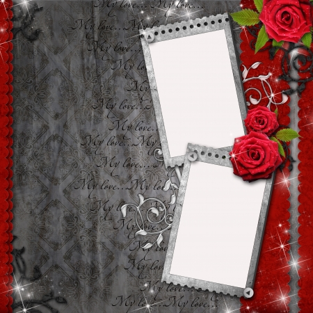Card for congratulation or invitation with  red roses  Stock Photo