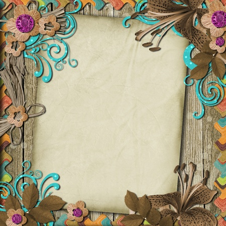 Vintage Wooden Background with frames and flowers