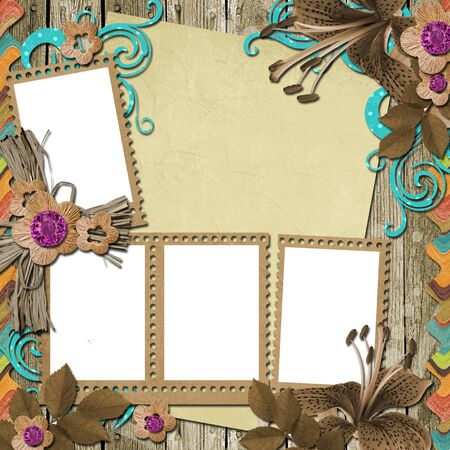 grubby: Vintage Wooden Background with frames and flowers