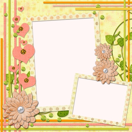 scrapbook: scrapbook page for two photos  in retro style with decorations