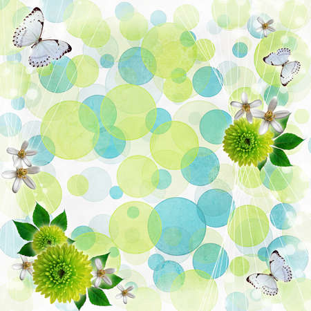 Green and blue bokeh background with butterfly,  flowers  photo