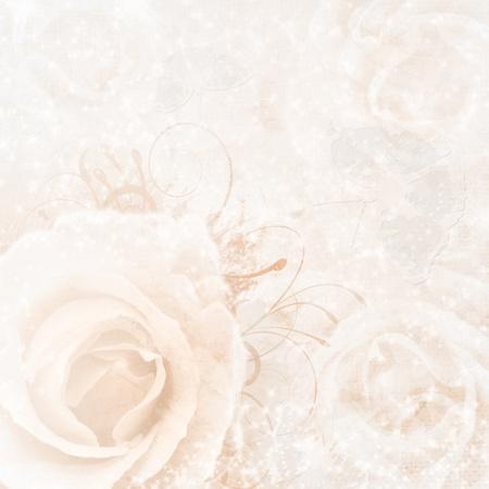 beige wedding background with roses Stock Photo