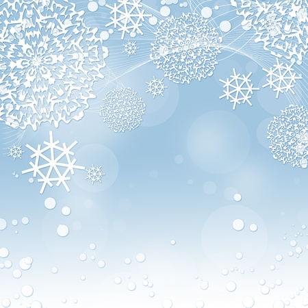 Winter background with snowflakes photo