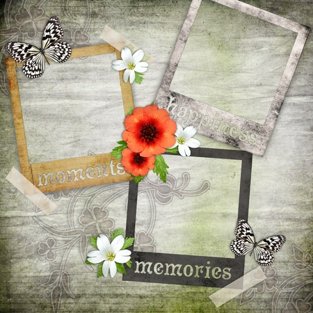 photo album page: photo frames on the old paper with flowers