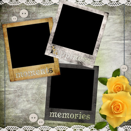 photo frame corner: photo frames on the old paper with flowers