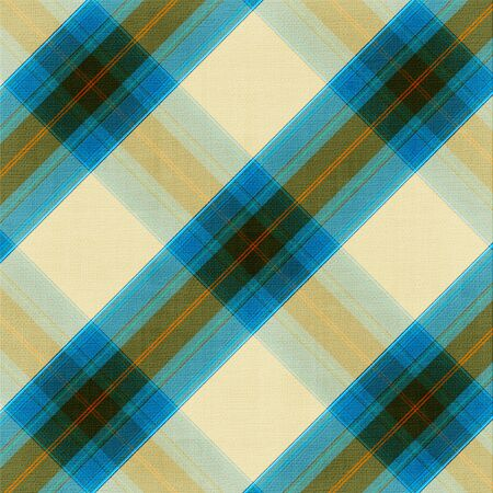 picnic blanket: Checkered fabric closeup in brown and blue