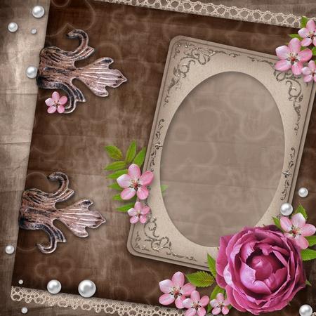 Vintage elegant frame with rose photo