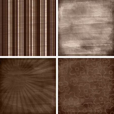 set of four different retro  pattern scrapbook backgrounds photo