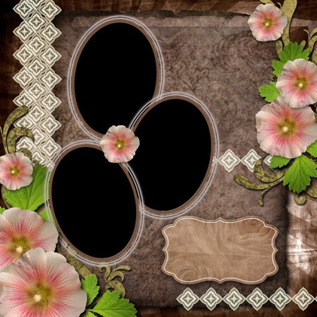 old paper, flower, frames on textured background for invitation or congratulation photo