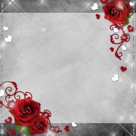 greeting card with red roses and hearts on the grey background  photo