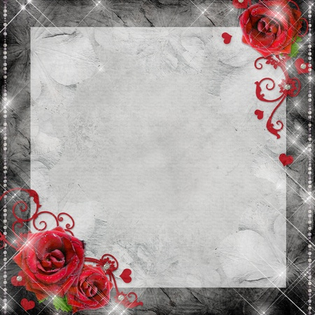 greeting card with red roses and hearts on the grey background Stock Photo - 11142277