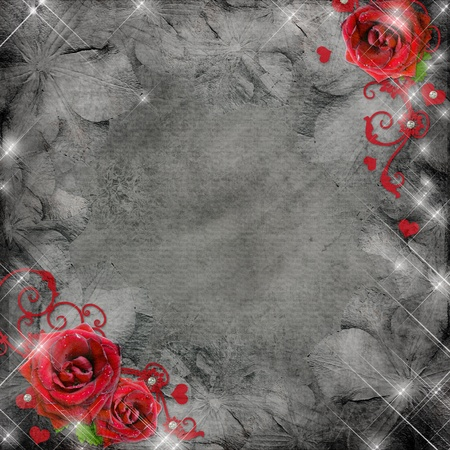 album greetings: greeting card with red roses and hearts on the grey background