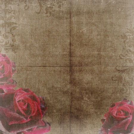 Old decorative background with roses photo