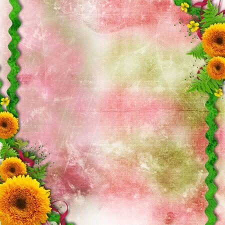 moño rosa: Flores de verano el color de fondo con la frontera y el espacio para el texto