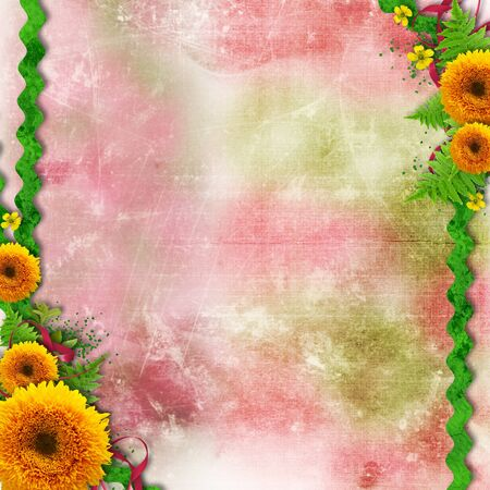 pink bow: Summer flowers color background with border and space for text