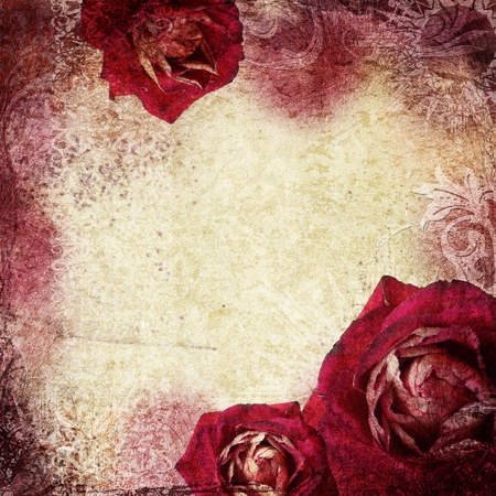 ragged: background in grunge style with flowers  Stock Photo
