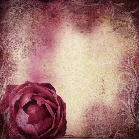 flower border pink: background in grunge style with flowers  Stock Photo