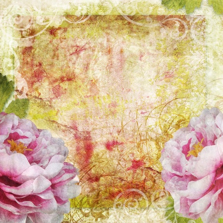 worn paper: retro floral background in scrapbook style Stock Photo