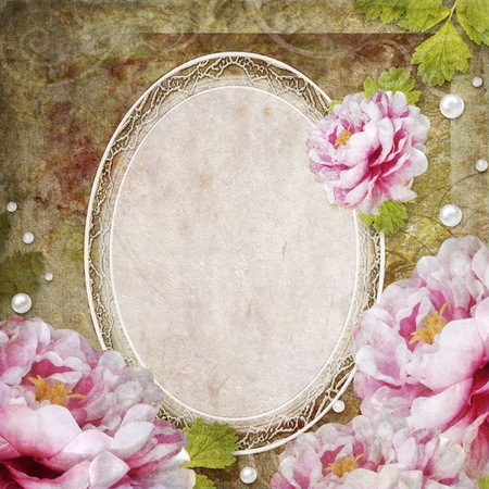 worn paper: retro floral background in scrapbook style with frame, roses, pearls