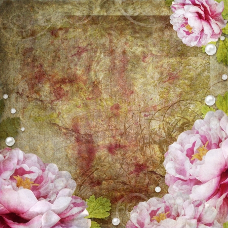 retro floral background in scrapbook style Stock Photo - 11221560