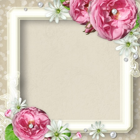 Vintage Photo Frame with pink roses and pearls Stock Photo - 11221564