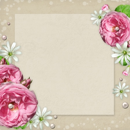 paper fastener: Vintage Photo Frame with pink roses and pearls