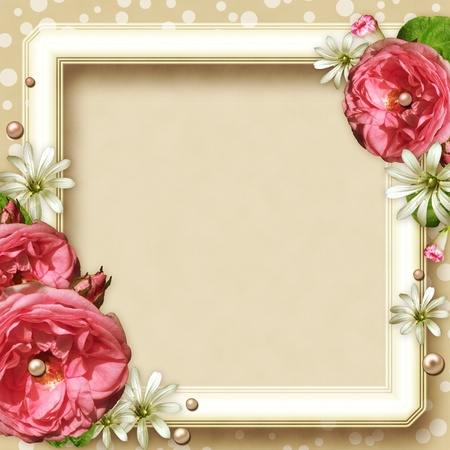 rose frame: Vintage Photo Frame with pink roses and pearls